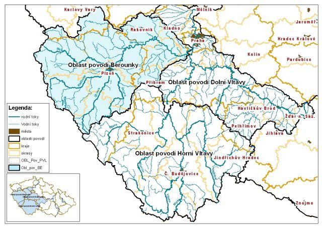 Oblast povodí Berounky ve vazbě na územně správní členění