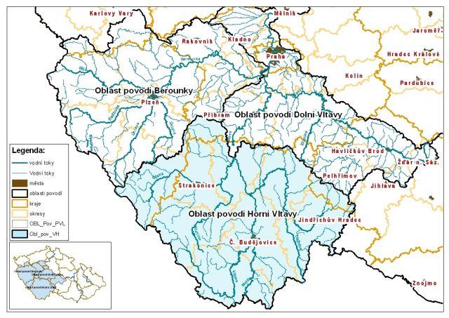 Oblast povodí Horní Vltavy ve vazbě na územně správní členění